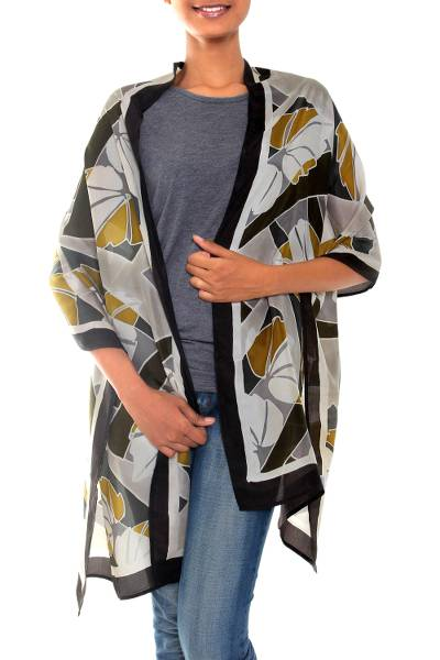 Artisan Crafted Indonesian Batik Silk Patterned Shawl