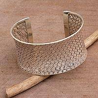 Sterling silver cuff bracelet, 'Circle of Joy'