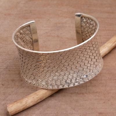 Sterling silver cuff bracelet, 'Circle of Joy' - Sterling silver cuff bracelet