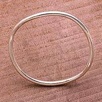 Sterling silver bangle bracelet, 'Simplicity in the Round' - Round Sterling Silver Bangle Bracelet