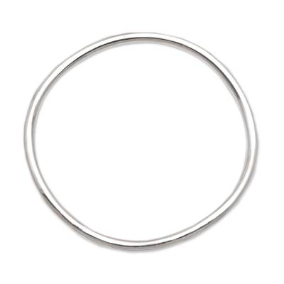 Sterling silver bangle bracelet, 'Simplicity in the Round' - Sterling Silver Bangle Bracelet