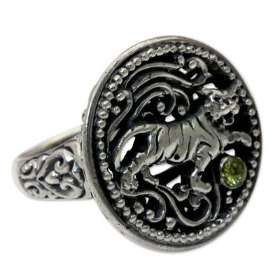 Peridot cocktail ring, 'Proud Tiger' - Peridot cocktail ring