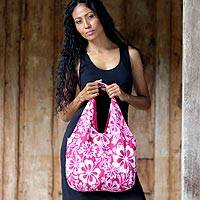 Cotton hobo shoulder bag, 'Pink Wilderness' - Cotton hobo shoulder bag