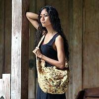 Cotton batik shoulder bag, 'Java Romance' - Beaded Batik Sling Bag from Indonesia