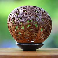 Coconut shell sculpture, 'Summer Maize' - Coconut shell sculpture