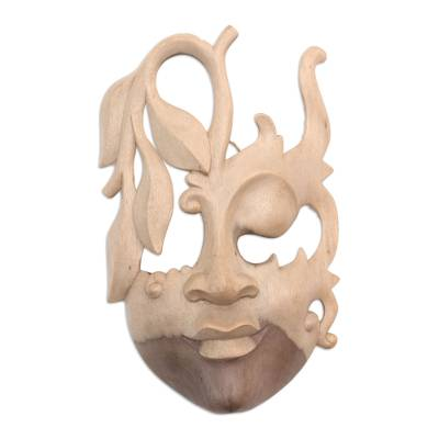 Wood mask, 'Innocent Girl' - Contemporary Wall Mask