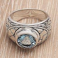 Men's blue topaz ring, 'Clear Skies'