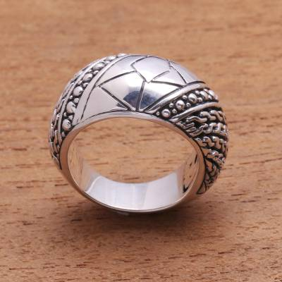 Men's sterling silver ring, 'Brave One' - Men's sterling silver ring