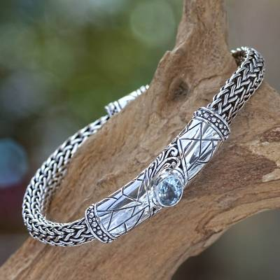 Blue topaz braided bracelet, 'Meditate' - Men's Blue Topaz and Sterling Silver Bracelet