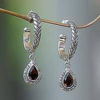 Garnet dangle earrings, 'Crimson Allure' - Garnet dangle earrings