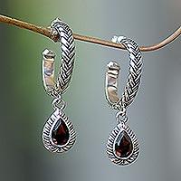 Garnet dangle earrings, 'Crimson Allure'