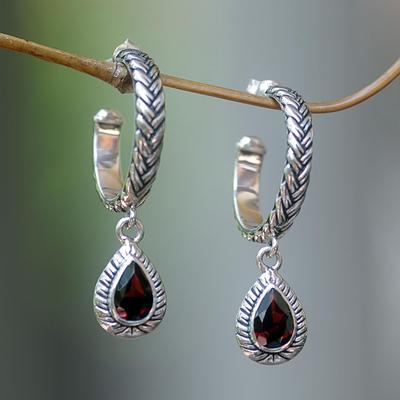 Garnet dangle earrings, 'Crimson Allure' - Garnet dangle earrings