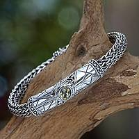 Men's citrine braided bracelet, 'Meditate' - Heavy Men's Sterling Silver and Citrine Bracelet from Bali