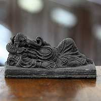 Sandstone sculptures, 'Sleeping Ganesha' (pair) - Sandstone Hindu Sculptures (Pair)