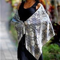 Silk batik shawl, 'Butterfly Blossoms' - Floral Silk Batik Shawl