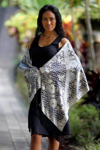 Silk batik shawl, 'Butterfly Blossoms' - Silk batik shawl