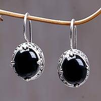 Onyx drop earrings, 'Angel'