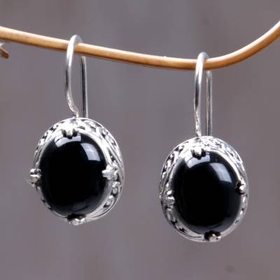 Onyx drop earrings, 'Angel' - Onyx Sterling Silver Drop Earrings
