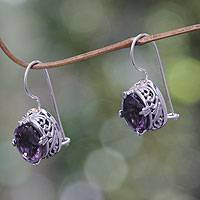 Amethyst drop earrings, 'Angel' - Round Amethyst Drop Earrings Encased in Sterling Silver