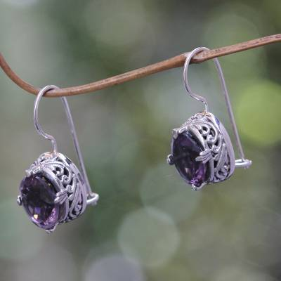 Amethyst drop earrings, 'Angel' - Handmade Sterling Silver Amethyst Drop Earrings