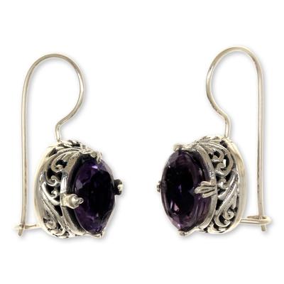 Amethyst drop earrings, 'Angel' - Handmade Sterling Silver Amethyst Drop Earrings