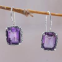 Amethyst drop earrings, 'Imagine' - Amethyst Drop Earrings Handmade in Indonesia