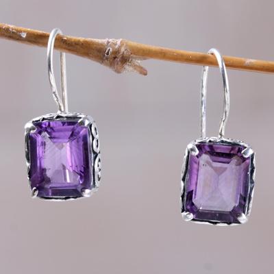 Amethyst drop earrings, 'Imagine' - Amethyst Drop Earrings Handmade in Indonesia