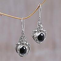 Onyx flower earrings, 'Midnight Garden' - Floral Onyx Sterling Silver Dangle Earrings