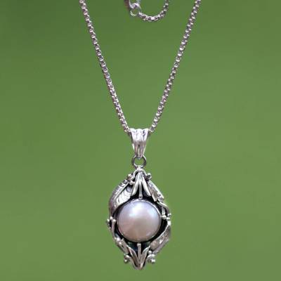 Cultured pearl flower necklace, 'Nest of Lilies' - Sterling Silver and Pearl Pendant Necklace