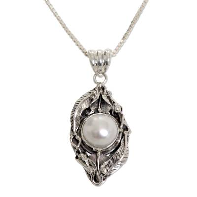 Cultured pearl flower necklace, 'Nest of Lilies' - Sterling Silver and Cultured Pearl Pendant Necklace