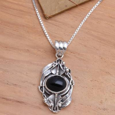 Onyx flower necklace, 'Nest of Lilies' - Floral Sterling Silver and Onyx Necklace