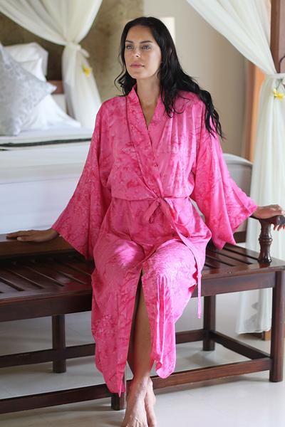 Women's batik robe 'Crimson Destiny' - Women's Batik Patterned Robe from Indonesia