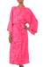 Women's batik robe 'Crimson Destiny' - Women's Batik Patterned Robe from Indonesia (image 2c) thumbail