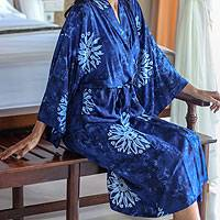 Women's batik robe 'Midnight Starlight' - Women's Blue Batik Robe