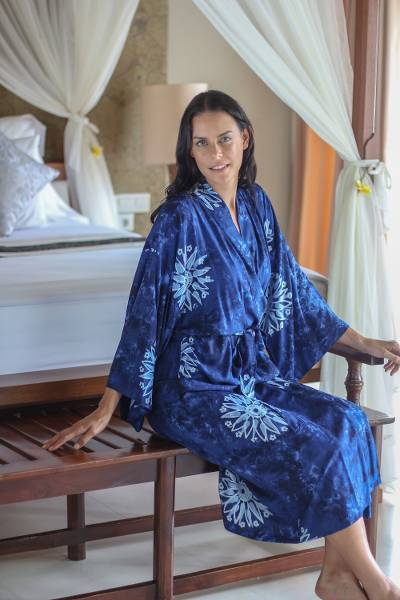 Women's batik robe 'Midnight Starlight' - Women's Blue Batik Robe