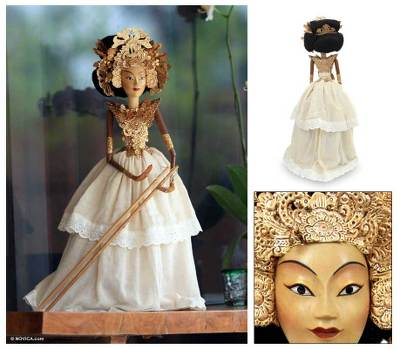 Rod puppet, 'Majapahit Princess' - Handcrafted Wooden Rod Puppet