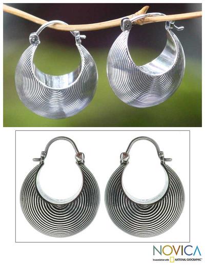 Sterling silver hoop earrings, 'Hypnotic Moon' - Sterling silver hoop earrings