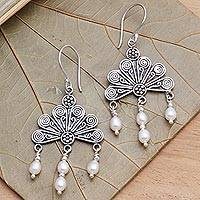 Pearl chandelier earrings, 'Pink Fan' - Sterling Silver and Pearl Chandelier Earrings