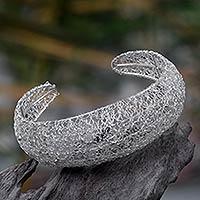 Sterling silver cuff bracelet, 'Energized' - Sterling silver cuff bracelet