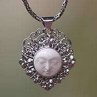 Sterling silver pendant necklace, 'Queen of Flowers' - Handcrafted Silver and Bone Pendant Necklace