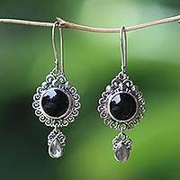 Onyx and labradorite dangle earrings, 'Midnight Tears'