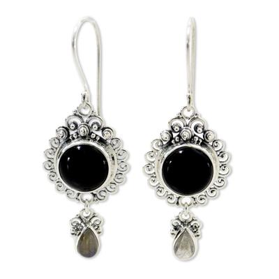 Onyx and labradorite dangle earrings, 'Midnight Tears' - Indonesian Sterling Silver Onyx Dangle Earrings