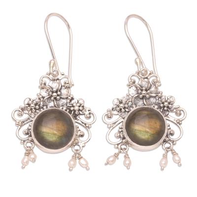 Labradorite flower earrings, 'Royal Heritage' - Floral Labradorite Sterling Silver Dangle Earrings