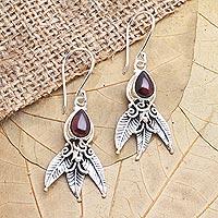 Garnet dangle earrings, 'Temptation of Eden'