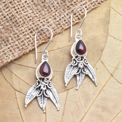 Garnet dangle earrings, 'Temptation of Eden' - Garnet and Sterling Silver Dangle Earrings