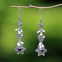 Cultured pearl and amethyst flower earrings, 'Angel' - Indonesian Amethyst Pearl Silver Dangle Earrings