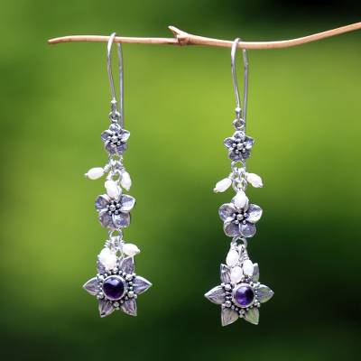 Cultured pearl and amethyst flower earrings, 'Angel' - Indonesian Amethyst Pearl Silver Dangle Earrings