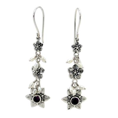 Pearl and amethyst flower earrings, 'Angel' - Indonesian Amethyst Pearl Silver Dangle Earrings