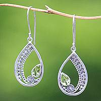Peridot dangle earrings, 'Paisley Swirl'