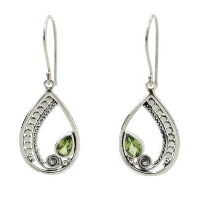 Peridot dangle earrings, 'Paisley Swirl' - Sterling Silver Peridot Dangle Earrings